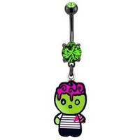 Dangling Green Zombie Belly Ring