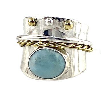 Larimar Two Tone Sterling Silver Regal Spinner Ring
