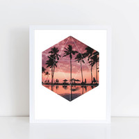 Sunset Palms Art Print - Inspirational Nature Wall Art, Paradise Ocean Beach Geometric Photography Art, Printable Landscape Trees Poster