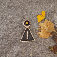Charm Pendant - Stick Girl Woman Jewelry -  Yellow Autumn - Oxidized Sterling Silver - Abstract Art Jewelry