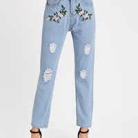 Floral Embroidered Destroyed Jeans