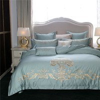 Cool Embroidery Egyptian cotton luxury bedding set queen king size blue green pink bed linen/sheet set Quilt duvet cover pillowcaseAT_93_12