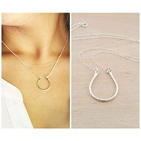 Horseshoe Charm Sterling Silver Necklace