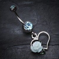 Glittering Sweet Heart with Rose Belly Button ring
