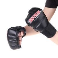 1 Pair PU Leather Half Mitts Mitten MMA Muay Thai Training Punching Sparring Boxing Gloves Golden/White/Red