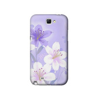 P2361 Purple White Flowers Case For Samsung Galaxy Note 2