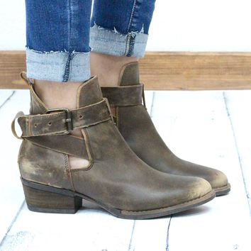 Very Volatile: Fiery Vintage Distressed Bootie w/ Buckle + Cut Out {Tan} - Size 6