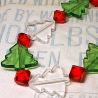 Adorable Acrylic Christmas Tree Necklace with Large Red Accent Beads, Green and White Trees, Christmas Necklace, Holiday Jewelry