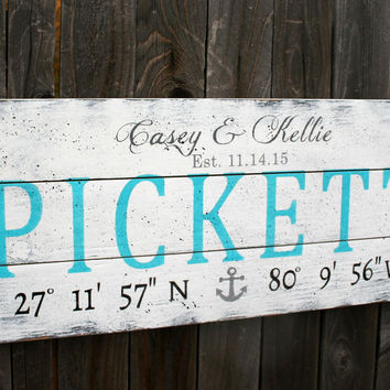 Coordinates Sign Beach Wedding Sign Wood Sign Pallet Sign Wedding Gift Bridal Shower Gift Housewarming Gift Anchor Sign Distressed Wood Sign