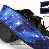 Space Camera Strap with Pocket Stars Blue  SLR by CoopersCollars