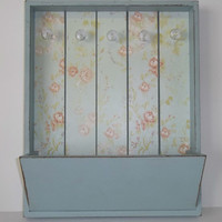 Blush Rose & Blue Floral Wall Pocket Organizer with Crystal Knobs