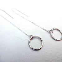 925 Sterling Silver Twig Circle and 925 STerling Silver Earring Threads - Unique Modern Jewelry; Deconstructed Sterling Silver Jewelry