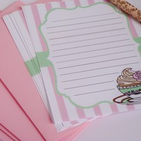 Cupcake and teacup stationery letter set
