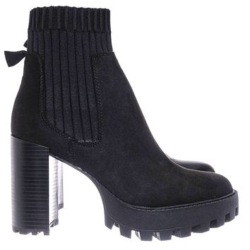 Intense01 Chelsea Boots w Elastic Knit Sweater Sock - Threaded Lug Sole Bootie