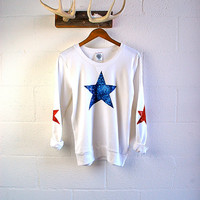 4th Fourth of July Sequin Elbow Patch Sweatshirt Jumper American Flag USA Star Elbow Patch White Women's Sequin Shirt Top Red White Blue