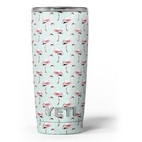 The All Over Mint Flamingo Pattern - Skin Decal Vinyl Wrap Kit compatible with the Yeti Rambler Cooler Tumbler Cups