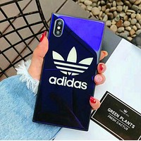 Adidas Stylish Unisex Simple Blu-Ray Tempered Glass For iPhone Phone Cover Case For Iphone X phone Shell 7s Iphone 8plus All-Inclusive Shell