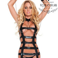 New appeal underwear of imitation leather bound of love role playing game uniform lingerie (Size: M) = 1932237828
