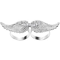 Clear Gem Silver Tone Angel Wing Double Finger Ring