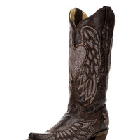 Corral Women's Brown Wing and Heart Crystals Inlay Boot - A2652