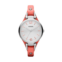 FOSSIL® Watch Styles Leather Watches:Women Georgia Leather Watch – Coral ES3219