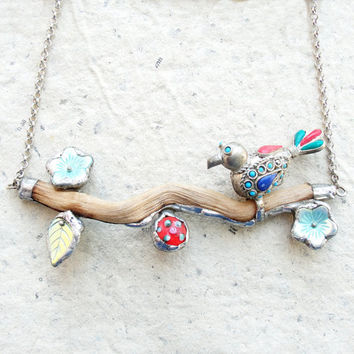 Paradiso Bird Necklace - Wood, Metal, Glass