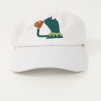The Kermit Dad Hat in White