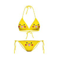 2016 NEW Pocket Monster Pikachu candy color printing Split Bikini cosplay anime Pokemon one piece Lacing Swimwear sexy lingerie