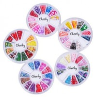 Set 5 Wheels of Nail Art Fimo Slices Decal 3d Decorations 60 Designs by Cheeky®