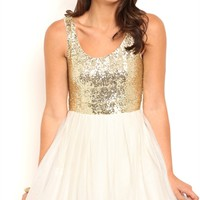 Sequin Party Dress with Satin Tie Back and Chiffon Skirt