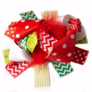 "Christmas 6"" Red Korker Hair Bow"