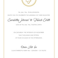 Wedding Invitation - Gold, Black and White