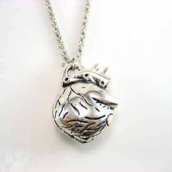 Anatomical Heart Necklace Anatomical Heart Jewelry Heart Necklace Valentines Necklace Love Jewelry Human Heart Necklace Life Like Heart