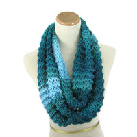 Teal Infinity Scarf, Knit Scarf, Chunky Loop Scarf, Neck Warmer, Circle Knit Scarf, Cowl Scarf, Gift For Her, Winter Accessory, Women Scarf