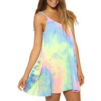 Womens Tie Dye Loose Casual Mini Slip Dress