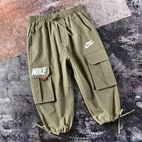 NIKE Fashion New Letter Hook Print Seven Points Women Men Pants Army Green
