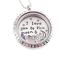 Personalized Love Locket Necklace - Hand Stamped Stainless Steel - Memory Locket - Floating Charms- I Love You To The Moon And Back