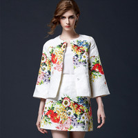White Floral Jacket with Skirt