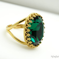 Green Ring Emerald Ring Emerald Jewelry Green Rings 24k gold Ring Swarovski ring crystal Oval Stone Cocktail Ring  Adjustable Ring Emerald