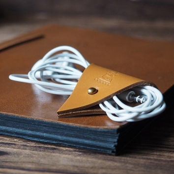 Leather Cord Holder #Light Brown