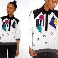 Vtg Abstract Colorful Printed Tuxedo Collared Shirt by LuluTresors