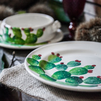 Cactus - Hand-Painted Dinner Plate