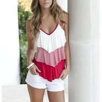 TIERED STRIPE AND SOLID V-NECK CAMI | Body Central