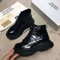 Alexander Mcqueen 2020 Hot Sale Woman lace up high top boots Leisure Sport Shoes Sneakers top quality black