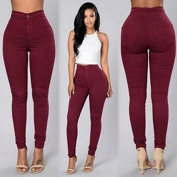 2018 Solid Wash Skinny Jeans Woman High Waist winter Denim Plus Size Push Up Trousers Bodycon warm Pencil Pants Female **
