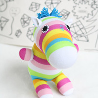 T8 Stuffed Zebra doll toy  plush  Colored zebra stripes  doll   Blue mane  animals  eco handmade doll baby shower gift
