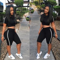 Short Sleeves Crop Top Short Pants Two Pieces Set