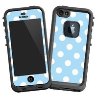 "White Polkadot on Baby Blue ""Protective Decal Skin"" for LifeProof fre iPhone 5/5s Case"