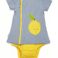 Lemon Appliqué Pocket Zip Dress