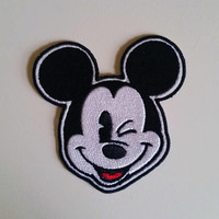 Disney Mickey Mouse inspired Winking Mickey Mouse Patch, Iron On, Sew On, Embroidery, Applique